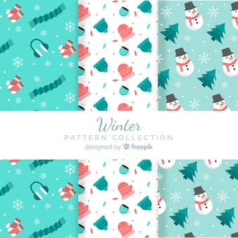 Snowmen and accessories winter pattern collection