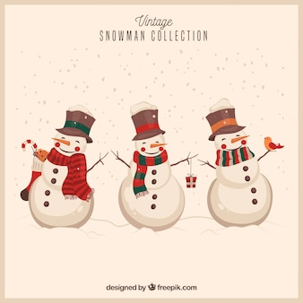 Snowmen background in vintage style