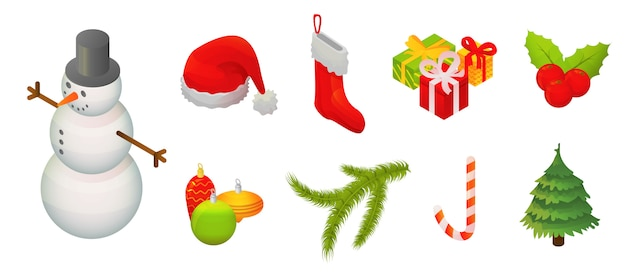 Snowmen christmas icon set