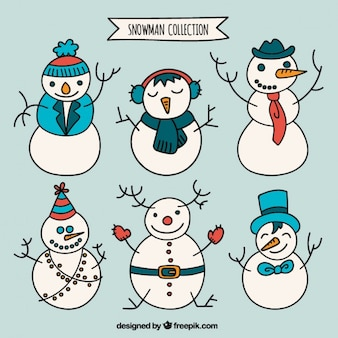 Snowmen collection in hand drawn style