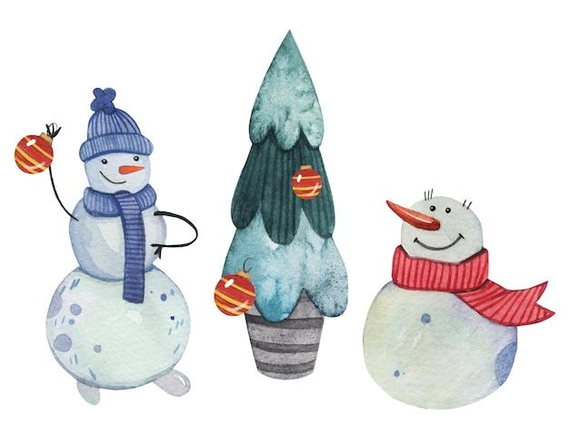 クリスマスツリーを飾る雪だるまの友達。水彩画。