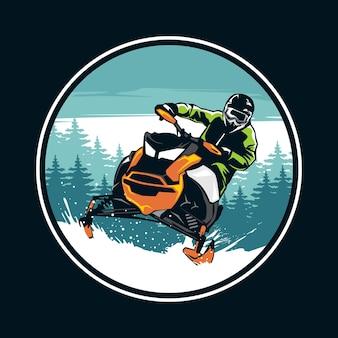 Snowmobile graphic illustration