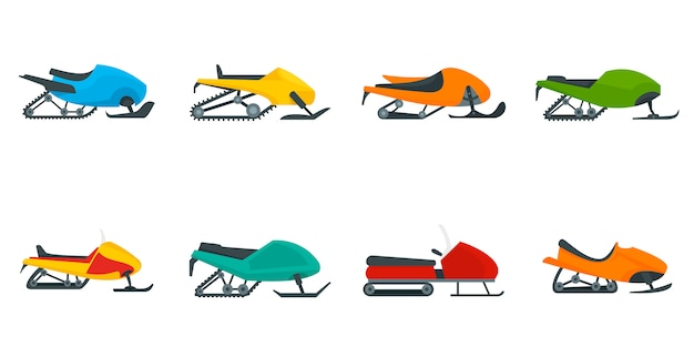 Snowmobile icon set