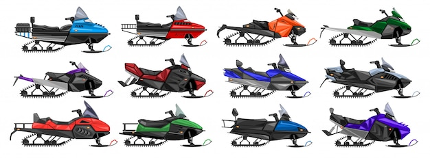 Snowmobile isolated cartoon set icon. illustration snow motorcycle on white background .cartoon set icon snowmobile.