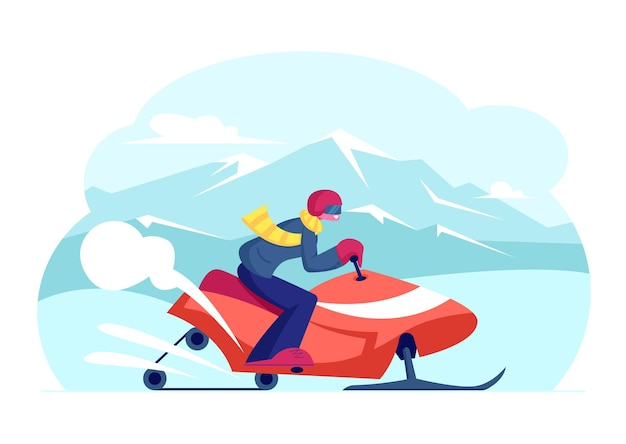 エクストリームスポーツアドベンチャーツアー中に雪の吹きだまりで速く走るヘルメットをかぶったスノーモービルライダー。漫画フラットイラスト