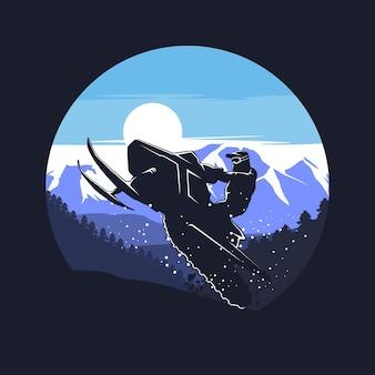 Snowmobile silhouette graphic