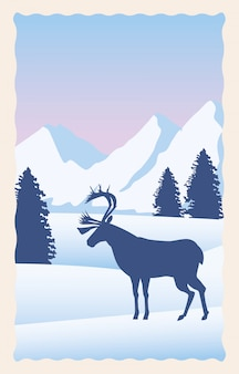 Snowscape flat scene with mountains and deer