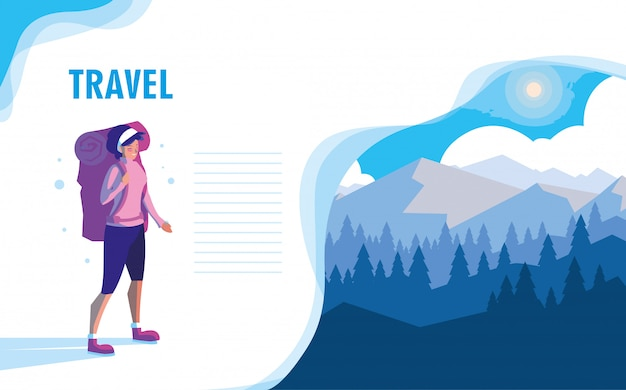 Snowscape nature with traveler vector ilustration