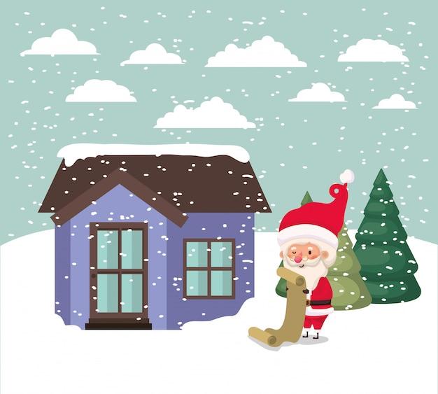 귀여운 집과 산타 클로스 장면으로 눈 풍경