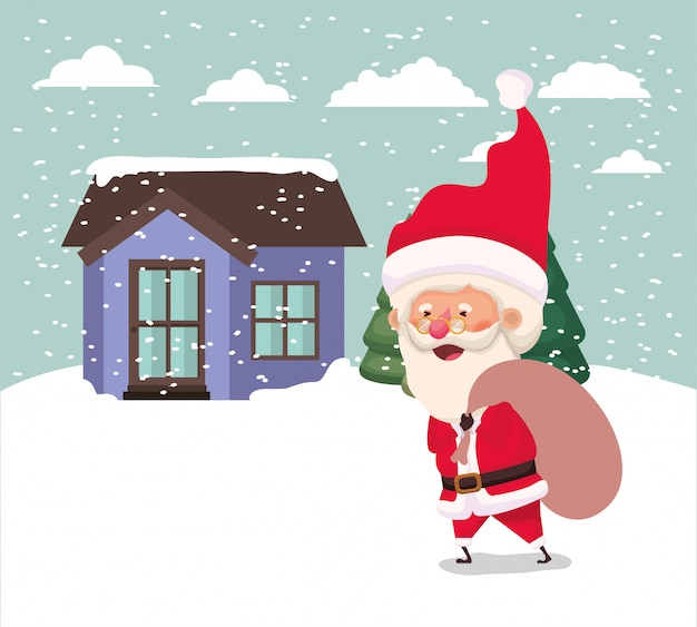 Snowscape with cute house and santa claus scene