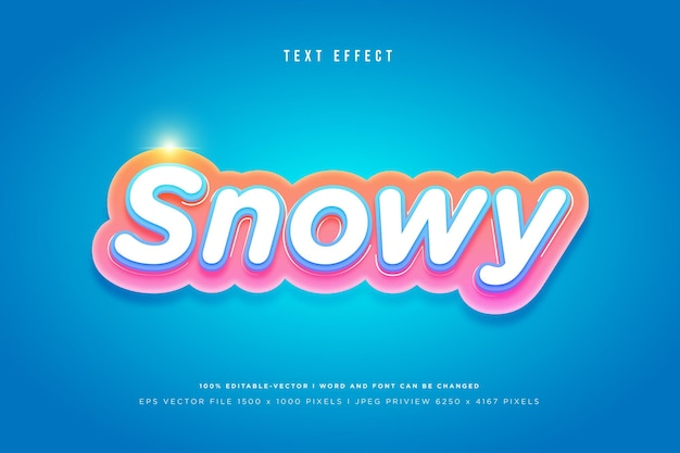 Snowy 3d text effect on blue background