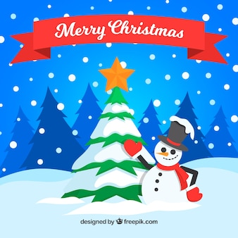 Snowy background with christmas tree and snowman