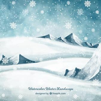 Снежный фон с зимним пейзажем