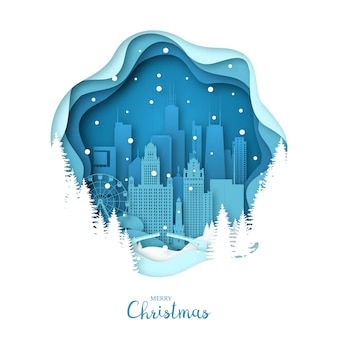 Snowy chicago city in paper art style.