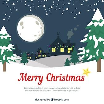 소나무와 눈 덮인 크리스마스 배경