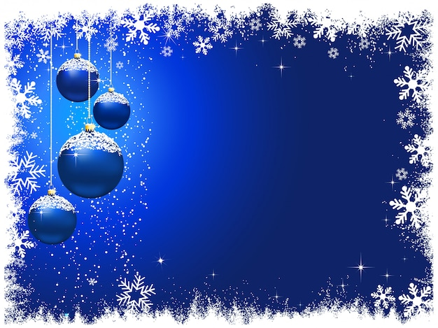 Snowy christmas baubles background