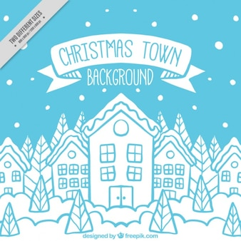 Snowy christmas city sketches background