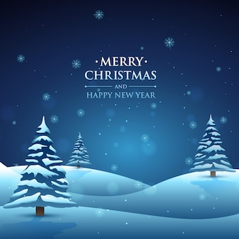 Snowy christmas landscape background