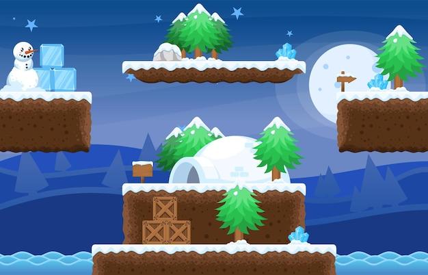 Snowy christmas platformer game tileset