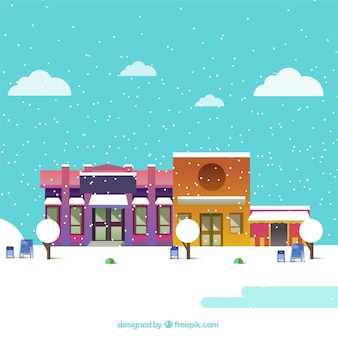 Snowy christmas town with a turquoise sky