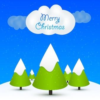雪に覆われたクリスマスツリーの背景