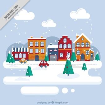 Snowy città di sfondo del paesaggio in design piatto