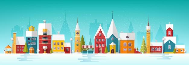 Снежный городской пейзаж или пейзаж с городом.