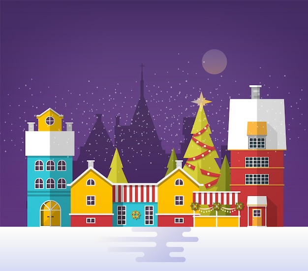 Snowy cityscape with buildings and trees decorated for christmas
