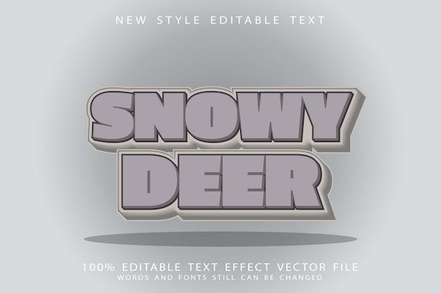Snowy deer text effect emboss cartoon style