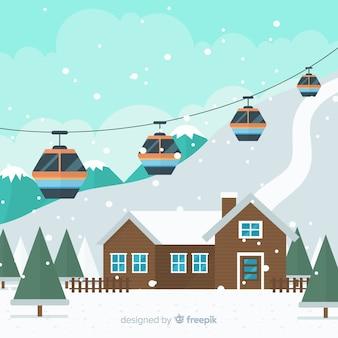 Snowy funicular winter illustration
