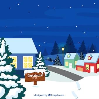 Snowy houses nocturnal landscape