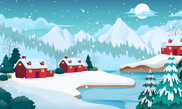 Снежное озеро зимний пейзаж иллюстрация с горы, дома, ель, концепция мертвого леса