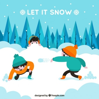 Snowy landscape background with kids having fun