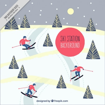Snowy landscape background with people skiing