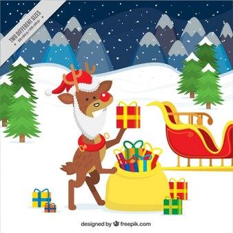 サンタクロースに扮トナカイと雪に覆われた風景の背景