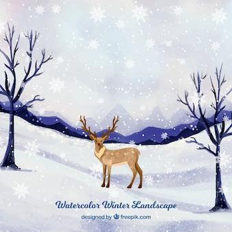 Снежный пейзаж с оленями