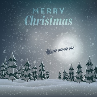 Snowy landscape background with santa claus on sledge