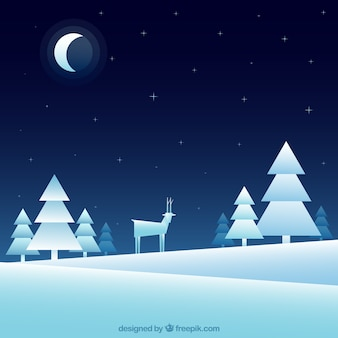 Snowy landscape background with trees