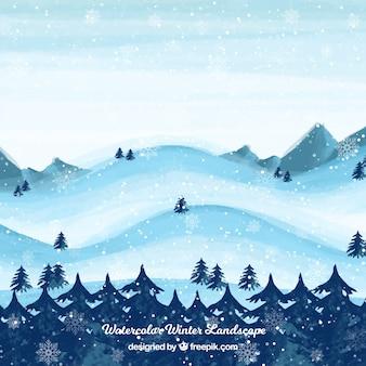 Снежный пейзаж с деревьями