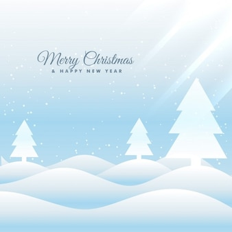 Snowy landscape christmas background with pines