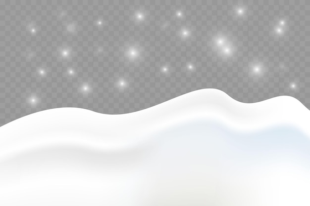 Snowy landscape isolated on dark transparent background vector illustration of winter decor