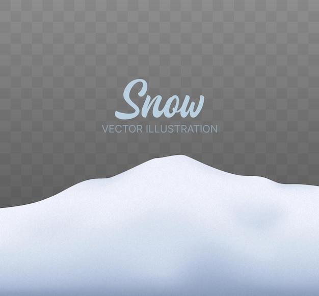 눈 덮인 언덕 크리스마스 배경으로 눈 덮인 풍경 고립 된 벡터 겨울 배경