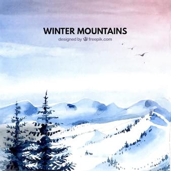 Снежный пейзаж акварель фон с соснами