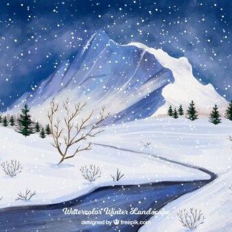 Снежный пейзаж зимний фон