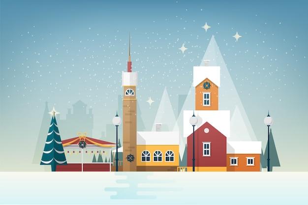 小さな山間の町と雪景色。