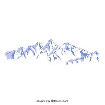 Snowy mountains illustration