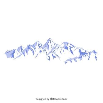 Snowy mountains illustration Premium Vector