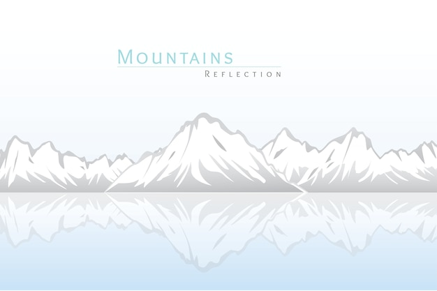 Snowy mountains with the reflection on the water.nature background