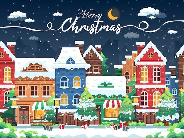 居心地の良いクリスマスの町の街のパノラマで雪の夜。冬のクリスマスの村の夜の風景