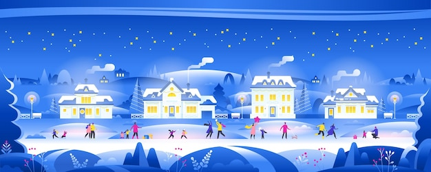 Snowy night with people in cozy town city panorama winter town village landscape at night